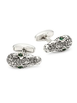 Crocodile Head Silvertone Cufflinks