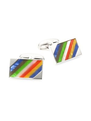 Striped Stone Silvertone Cufflinks