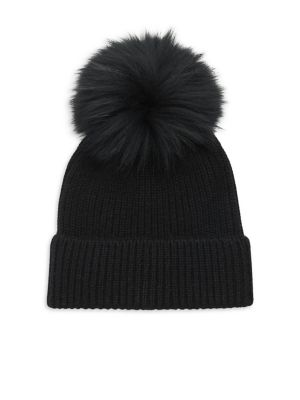 AMICALE Fox Fur Pom Pom Beanie in Black