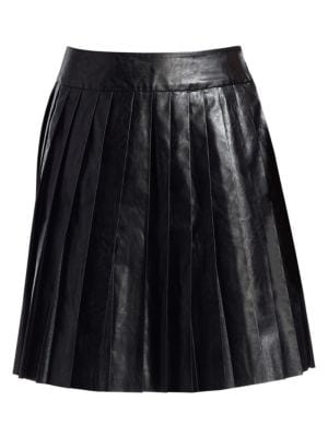 WE11DONE Faux-Leather Pleated Mini Skirt