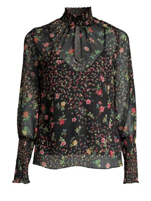 Misha Floral Puff-Sleeve Blouse from Saks Fifth Avenue