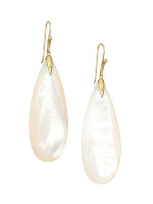 Fauna 18K Yellow Gold & Mother-Of-Pearl Simple Bird Drop Earrings