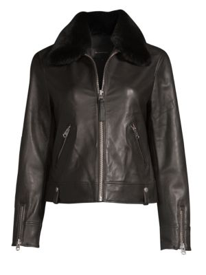 MACKAGE Fur Collar Leather Jacket