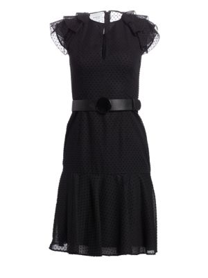 Fil Coupe Tiered Ruffle Cap Sleeve A-Line Dress
