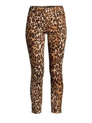 7 FOR ALL MANKIND | Cheetah Print Skinny Ankle Jeans | Goxip