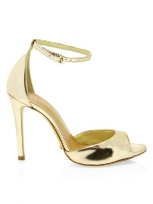 SCHUTZ Saasha Lee Metallic Leather Ankle-Strap Heels