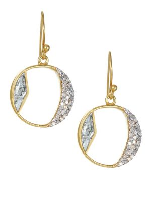 Safar Tonsa Diamond & Goldplated Hoop Drop Earrings