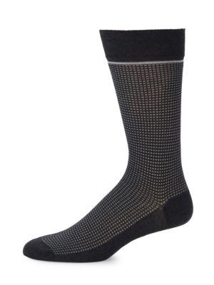Micro-Check Mid-Calf Socks