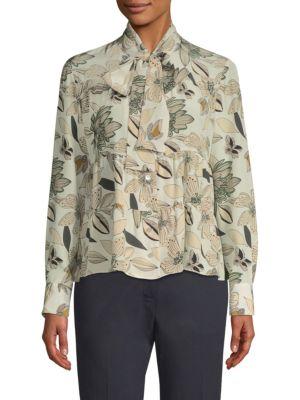 BECKEN Silk Floral Tie Blouse