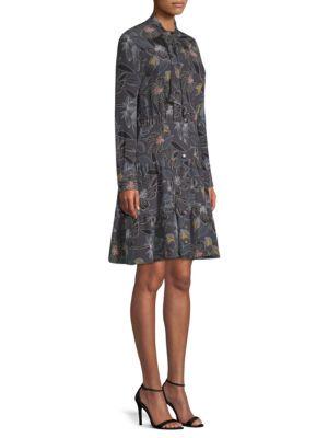 BECKEN Floral Silk Tiered Shirt Dress