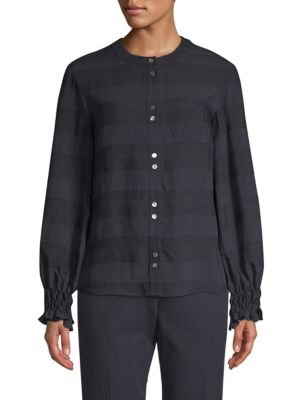 BECKEN | Textured Striped Shirt | Goxip