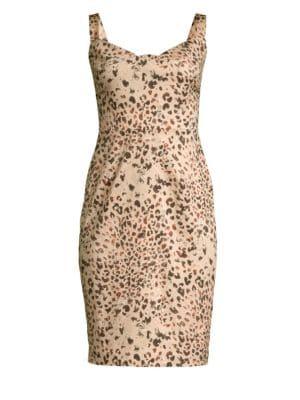 BLACK HALO Vista Leopard Print Sheath Dress