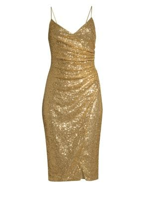 Bowery Ruched Sequined Slip Dress