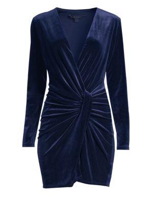 BLACK HALO Lara Velvet Long Sleeve Mini Dress