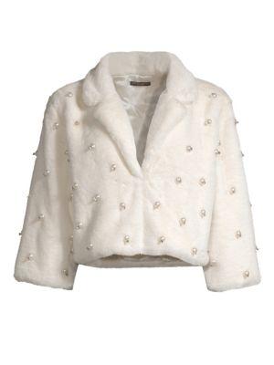 ALBERTO MAKALI | Faux Fur Pearled Crop Jacket | Goxip