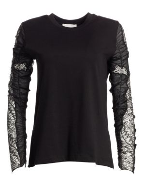Ruched Lace Sleeve Cotton T-Shirt