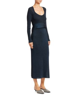 Tie-Waist Lurex Rib-Knit Midi Dress