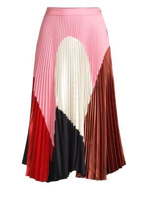 DELFI COLLECTIVE | Clara Geometric-Print Pleated A-Line Midi Skirt | Goxip