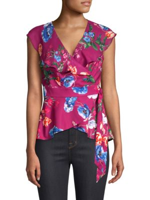PARKER Melinda Floral-Print Wrap Combo Top