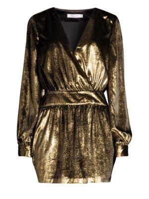 Metallic Velvet A-Line Mini Dress