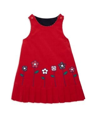 Reversible Corduroy Floral-Embroidered Pleated Hem Shift Dress