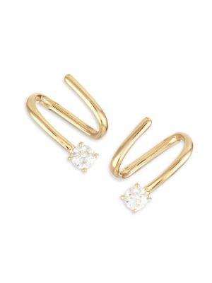 18K Yellow Gold & Diamond Coil Earrings