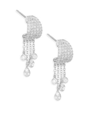 14K White Gold & Diamond Drop Earrings