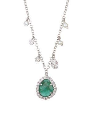 14K White Gold, Diamond & Emerald Pendant Necklace