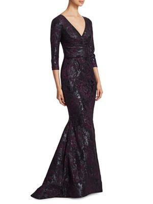THEIA 3/4-Sleeve Super-Stretch Jacquard Mermaid Dress in Black Burgundy