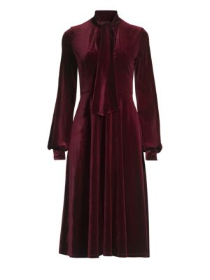 BLACK HALO Ruby Velvet Long-Sleeve Dress in Burgundy