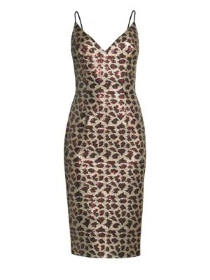 BLACK HALO Amorie Leopard-Print Sequined Cocktail Dress in Cleopatra