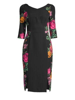 BLACK HALO | Prism Slit-Panel Sheath Dress | Goxip