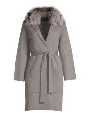 KOBI HALPERIN Addie Genuine Fox Fur Collar Wrap Jacket