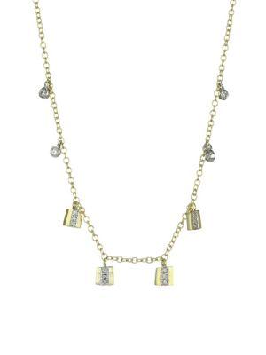 14K Yellow Gold, 14K White Gold & Diamond Charm Necklace