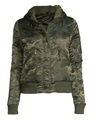 James Hooded Camo Bomber Jacket