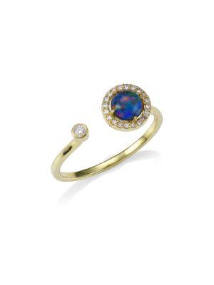 14K Yellow Gold, Opal & Diamond Triplet Ring