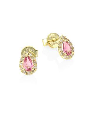 14K Yellow Gold, Pink Tourmaline & Diamond Stud Earrings