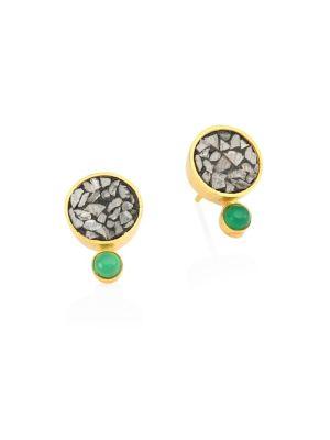 Tulum Ophelia 18K Goldplated Diamond & Green Onxy Studs