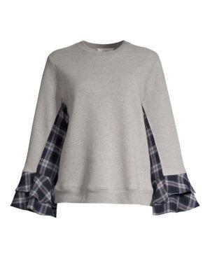CLU | Paneled Bell Sleeve Sweatshirt | Goxip