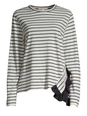 CLU | Ruffle Stripe Cotton Tee | Goxip