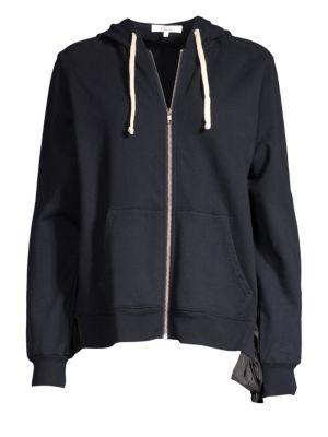 CLU | Zip Ruffle Cotton Hoodie | Goxip