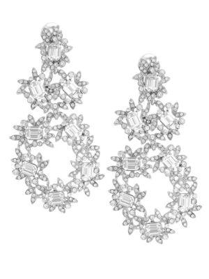 Silver & Crystal Flower Drop Clip Earrings