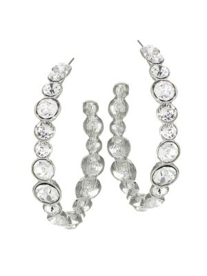 Crystal & Rhodium Plated Hoop Earrings