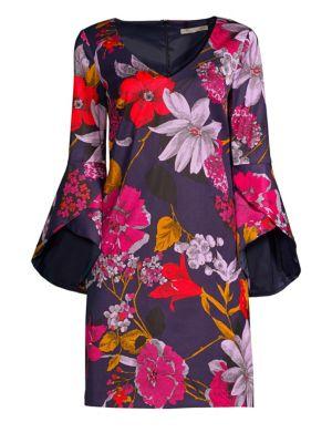 TRINA TURK Cheers Grand Garden Bell-Sleeve Dress in Multi