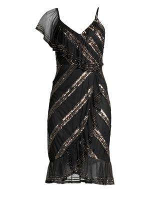AIDAN MATTOX Sequin-Striped Asymmetric Dress in Black