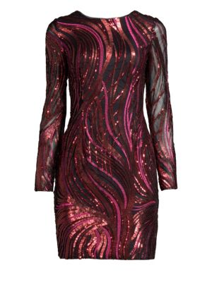 Embroidered Sequined Sheath Dress