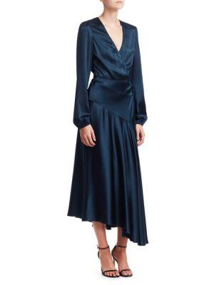 A.L.C Darby Satin Wrap Midi Dress