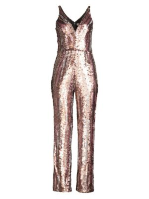DRESS THE POPULATION | Sequin Wide-Leg Jumpsuit | Goxip