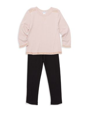 Little Girl's Two-Piece Mixed Media Sweater and Pants Set
