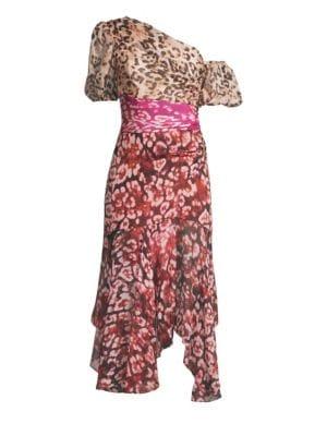 AMUR | Jaylah Silk Chiffon One-Shouldered Dress | Goxip